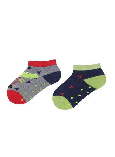 Katia & Bony Dinosaur 2 Li Bebek Soket Çorap  Gri
